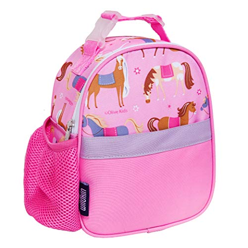 Wildkin Insulated Clip-in Lunch Box Bag for Boys & Girls, Measures 9 x 7 Inches Lunch Box for Kids, Ideal for Packing Hot or Cold Snacks for School & Travel Kids Lunch Box, BPA-Free (Horses)