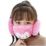 Orejeras Niños Invierno Encantador Cache Calentador Niños Orejeras Máscara de gasa Regalo de Navidad Velvet Ear Muff Wrap Band Montar oreja Earlap Pink