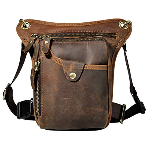 Xieben Vintage Cintura Bolsa de Cuero Gota Pierna Bolsa para Hombres Mujeres Bolso...