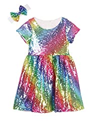 White Rainbow Toddlers Sequin Dress