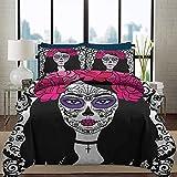 Ropa de cama Juego de funda nórdica Sugar Skull Juego de cama de patrón moderno Chica con maquillaje de calavera de azúcar Dia De Los Muertos Juego de ropa de cama decorativo de 3 piezas con estampado