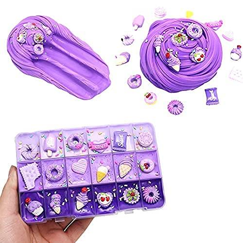 SWZY Slime Fluffy, Arcilla Slime,con Ricos Accesorios de decoración de Galletas/Helados de Color púrpura, Juguetes de Masilla de Barro para niños y niñas, Serie púrpura