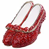 Minihouse Shoes Treasure Trinket Box Hinged Hand-Painted Enameled Ruby Slipper Figurine Tabletop Ornament Collectible Jewelry Box Ring Holder,Unique for Home Decor