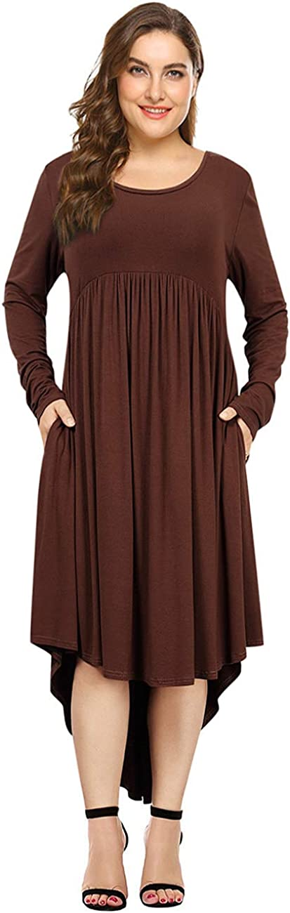 AMZ PLUS Women Plus Size Max 64% OFF Max 52% OFF High Flare Low Loose Swing Dress