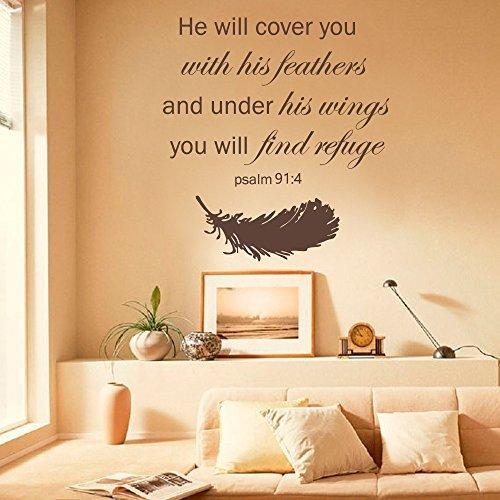 Pegatinas murales para pared, diseño de familia con texto en inglés 'He Will Cover You with His Feathers Bible Verses Escrituras Salmo 91:4', color marrón
