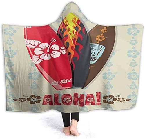 Bernice Winifred Manta con Capucha para niñas Ilustración Vectorial de Tablas de Surf Aloha Suave y cálida Sudadera con Capucha Fleece Capucha usable130x150cm (51.2x59.1 '')