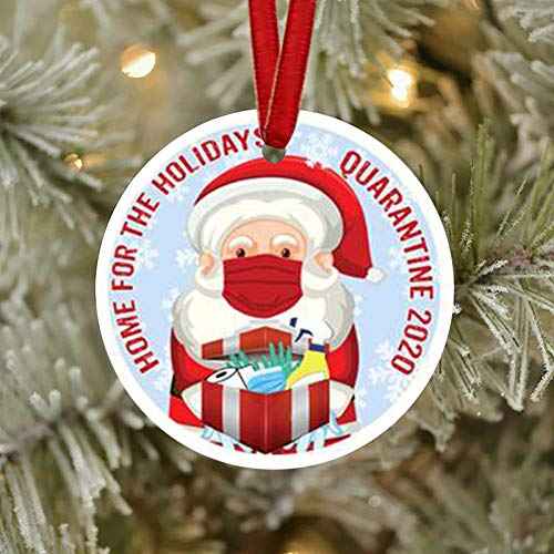 Shirt Luv 1pcsChristmas Ornaments 2020 Santa Claus Masked Souvenir Tree Hanging Ornaments