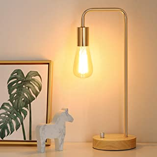 Edison Lamp, Industrial Table Lamp, Wood Desk Lamp for Dressers, Gold Nightstand Lamps for Bedside, Bedroom, College Dorm, Study Desk, Coffee Table