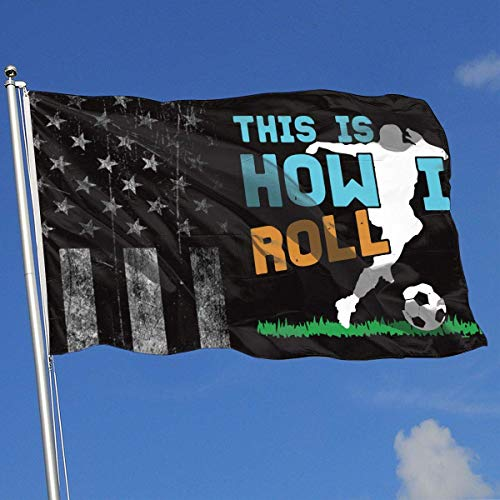 AOTADer Outdoor Flags Abgenutzte USA Flag Rugby So Rolle ich Flagge für Sportfan Fußball Basketball Baseball Hockey
