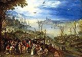 JH Lacrocon Jan Brueghel el Viejo - Mercado Pescado En Las Orillas Río Reproducción Cuadro sobre Lienzo Enrollado 120X80 cm - Pinturas Paisajes...