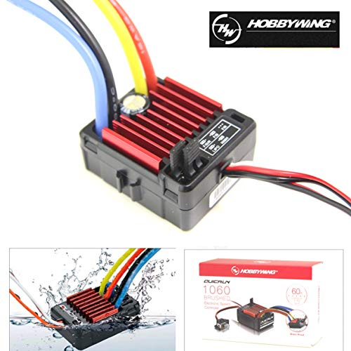 SoloGood HobbyWing QuicRun 1/10 Waterproof Brushed 60A Electronic Speed Controller RC Car Waterproof ESC 1060 …