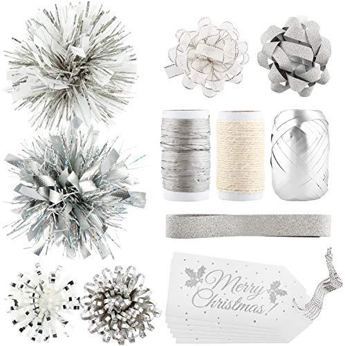 com-four® 16-teiliges Geschenkverpackungs-Set mit Geschenkschleifen, Geschenkbändern und Grußkarten - Geschenk Dekoration für Weihnachten - silberfarben