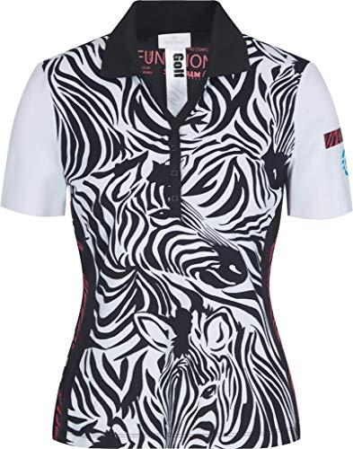 Sportalm Damen Poloshirt Größe 48 EU Schwarz (schwarz/weiß)