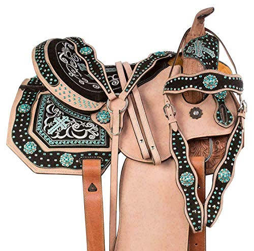 Blue Lake Premium Leather Barrel Racing Pleasure Trail Leather Western Horse Saddle Equestrian with Free Tack Set Size 14'' to 18'' (Brown, 17 in)