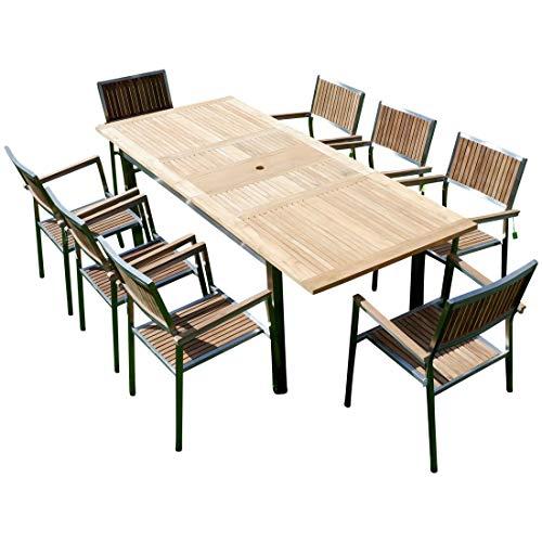 AS-S Gartengarnitur Edelstahl Teak Set: Ausziehtisch 160/220 x 90cm und 8 Teak Sessel A-Grade Teak Holz Serie Kuba Gastroqualität