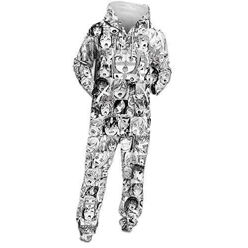 Herren Onepiece Jumpsuit Jogger, Kapuzenpullover Strampelanzug 3D Printed Sweatshirt Männer Strampler Weich Nachtwäsche Fitness Bekleidung Overall Trainingsanzug