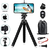 YeahWhee Flexible Cell Phone Selfie Stick Tripod with Wireless Bluetooth Remote and Universal Clip for iPhone, Android Phone, Sports Camera GoPro