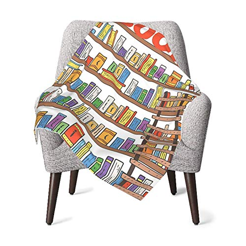 Baby Blanket Modern Library Bookshelf with A Ladder Swaddle Blanket Boys & Girl Soft Silky Swaddling Blankets Wrap for Newborn Infant Large 30 X 40 Inches
