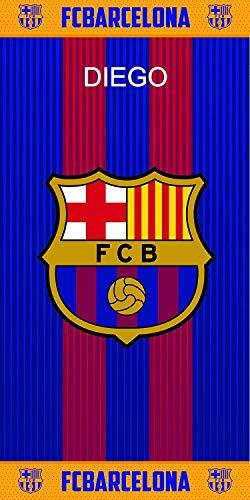 FC Barcelona- Toalla De Baño y Playa Personalizada con nombre Bordado- 75 x 150 cm- Danielstore (FCB160)
