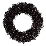 12/16in Christmas Halloween Black Tinsel Artificial Flower Wreath, with Light, Suitable for Front Door Decoration, Wall Decoration Kit (Color : with Light, Size : 12in)