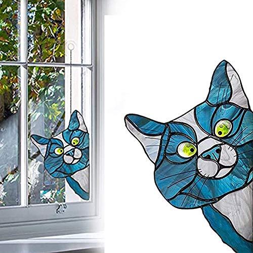 FSKJ Peeking Cat Stained Glass Window Hangings, Cat Window Projection Pendant, Window Cling Stickers Stained Glass Cat Ornaments, Removable 3D Cute Pet Sticker,C
