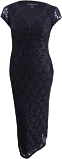 Connected Apparel Womens Petites Sequined Lace Evening Dress
