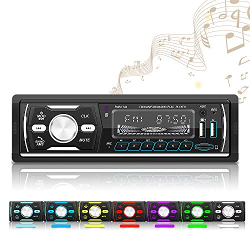OiLiehu Single Din Digital Media Car Stereo, Bluetooth Audio, MP3 Player, FM/AM/RDS/DAB/Dual USB/ Aux-in/TF Card Port, No DVD/CD Player, Car Stereo Receiver with Wireless Remote Control