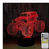 lvabc 3D-Nachtlicht mit Kindertraktor mit LED-Touch-Fernbedienung, Deko-Lampe mit 7 Farben zum Wechseln der Tischlampe als Geburtstagsgeschenk