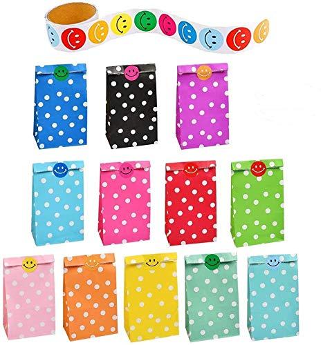 WOWOSS 48 Stück Geschenktüten bunt und dekorativ gepunktet,Polka Dots Candy Paper Bags Set, 12 Farben Kleine Papiertüten,Geschenktüten mit 1 Rollen-Lächeln-Aufkleber für Party, Hochzeit und Geburtstag