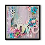 nuoshen Cuadro de flores 5D pintura con cuentas 5D para hacer tú mismo, pintura con diamantes, bordado, pintura para el hogar, decoración de pared