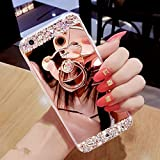 HMTECHUS Case for S10 5G Luxury Bling Crystal Diamond Rhinestone Shining Bear Ring Holder Stand Miror Makeup TPU Bumper Cover Case for Samsung Galaxy S10 5G 6.7 Inch Rose Gold Bear Mirror TPU
