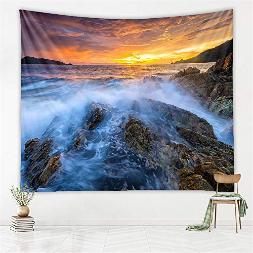 Seaside Sunset Tapestry Landscape Wall Hanging Wall Decoration Home Decoration Yoga Blanket Beach Towel Background Cloth,XL/180x230cm(70'x91'),Ywfj002