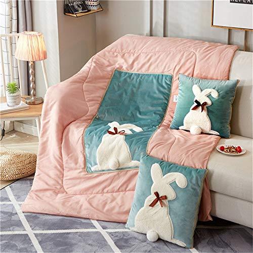 YLiansong-home Manta de Viaje y Almohada Chica Rabbit Heart Cojín edredón Multifuncional sofá Amortiguador del Coche de Doble finalidad de la Almohadilla del edredón Equipaje de Mano