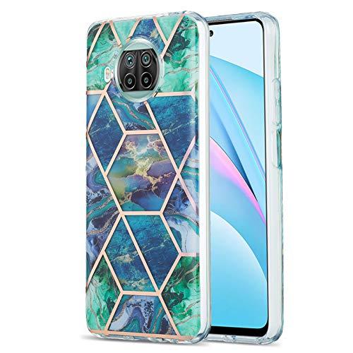 Fundas para Xiaomi Mi 10T Lite 5G, caso de TPU de mármol (Azul-verde)