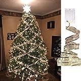 Luces de hadas Árbol de Navidad, 13 pies / 4 m 40 LED Cadena de luces a batería Impermeable para Navidad Año nuevo Caja de regalo Ventana Boda Fiesta Gazebo Decoración de sala de estar del hogar