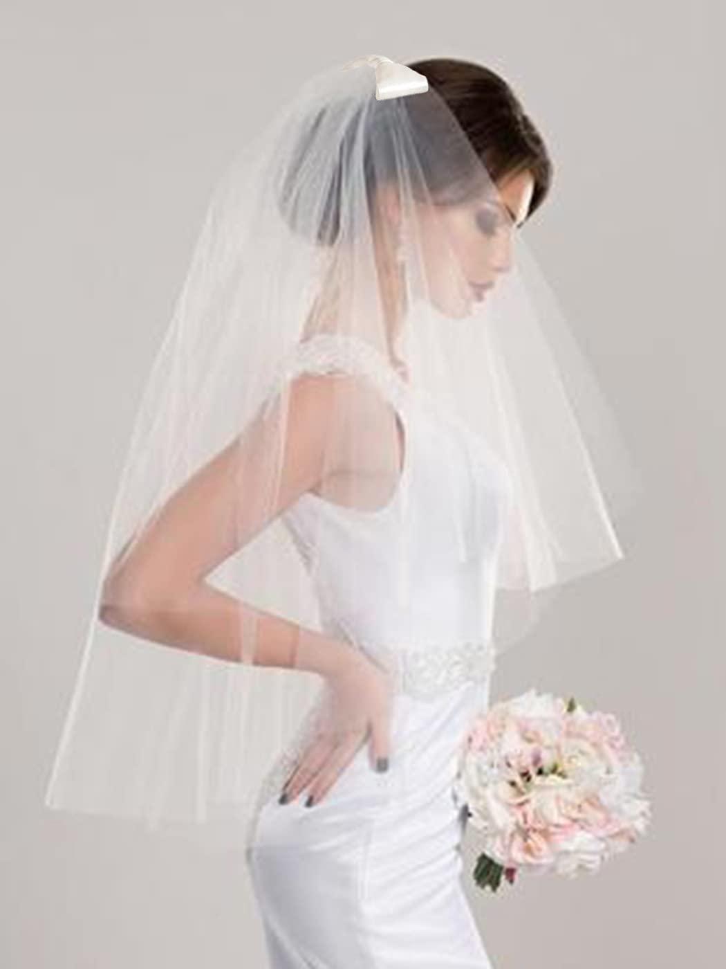 Yokawe Women's Bridal Wedding Veil 2 Tier Bow Bride Veils with Comb White Wedding Headpiece (Ivory)