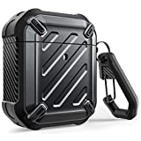 SUPCASE Airpods 1&2 2019 ケース リング 付き シリコン 収納ケース 耐衝撃 防塵 360°全面保護カバー スタイリッシュ AirPodsケースカバー Apple AirPods第1/2世代に適用 (AirPods, 黒)