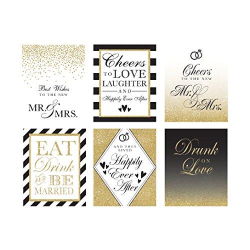 Bridal Shower Gifts for Bride, Bridal Shower Favors, Wedding Wine Bottle Labels (Set of 6) for Bachelorette Party Gifts, Engagement Party Gifts, Bridal Gifts for the Bride, Wine Labels