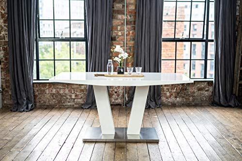 coku Alula Luxury White Gloss Dining Table with Modern Stainless Steel and High Gloss Base