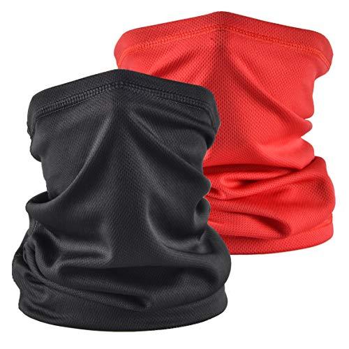 Sun UV Protection Neck Gaiter Bandana Face Cover Scarf Headwear Headband Men/Women for Fishing Cycling Running(2pcs Black+Red)