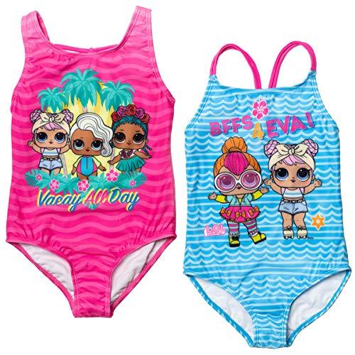 L.O.L. Surprise! Dawn Coconut Q.T. Neon Q.T. Surfer Babe Little Girls 2 Pack One-Piece Swimsuit 6X