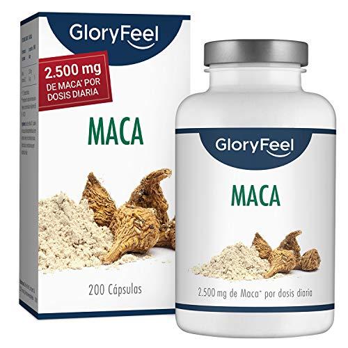 GloryFeel Maca Andina - 200 Capsulas de Maca (Más de 6 Meses de Suministro) - 2.500mg de Maca por dosis diaria - Capsulas de la Raíz Original de Maca con Vitamina B12 - Hecha en Alemania