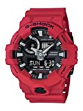 Casio Men's G Shock Quartz Watch with Resin Strap, red, 25.8 (Model: GA-700-4ACR)