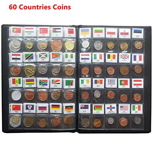 Coin Collection Starter Kit 60 Countries Coins/100% Original Genuine/World Coin with Leather Collecting Album Taged by Country Name and Flags/Coin Holder Collection Storage Classic Gifts