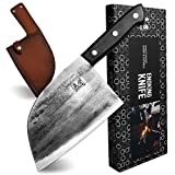 ENOKING Butcher Knife Hand Forged Butcher Cleaver Knife Full Tang Meat Cleaver, High Carbon Clad Steel Super Sharp Butcher Cleaver with Leather Knife Sheath