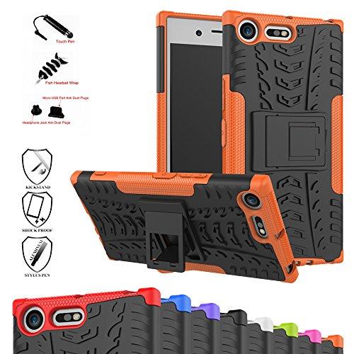 Sony Xperia XZ Premium Hülle,Mama Mouth [Heavy Duty] Rugged Armor stoßfest Handy Schutzhülle Silikon Tasche Ständer Hülle Hülle mit Standfunktion für Sony Xperia XZ Premium (5,5 Zoll) Smartphone,Orange