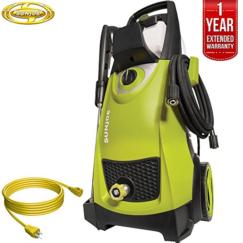 Sun Joe SPX3000 Pressure Joe 2030 PSI Electric Pressure Washer All You Need Bundle with 25 Foot Outdoor Extension Cord and One year Warranty Extension (Green)