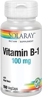 Solaray Vitamin B-1 100 mg | Healthy Energy Metabolism, Skin, Brain, Heart & Nervous System Support | 100 VegCaps