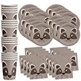 Raccoon Birthday Party Supplies Set Plates Napkins Cups Tableware Kit for 16