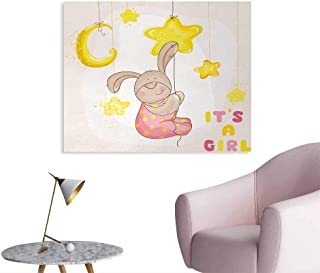 Tudouhoho Kids Space Poster Cartoon Like Cute Baby Bunny Hanging Stars and Moon Polka Dots Cheerful Art Wall Sticker Decals Yellow Tan Light Pink W36 xL32